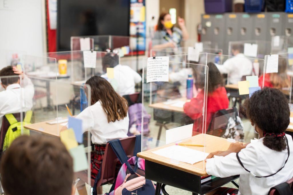 classroom with plexiglass