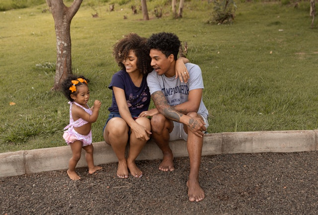 happy young family outside